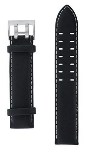 Uhrenarmband Armband Lederarmband schwarz 20 mm silberfarbene Doppeldornschließe beige Naht glatt von Junkers