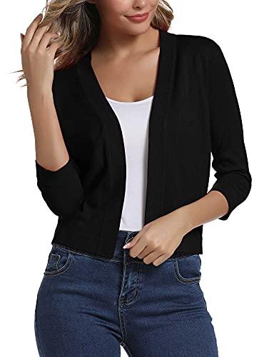 Urban CoCo Women's 3/4 Sleeve Cropped Cardigan Sweater Elegant Shrugs for Women (L, Black)