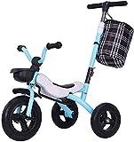 Triciclo para niños Plegable 1-3-2-6 años Bicicleta Bicicleta Carro de bebé Juguete para niños (Color: Azul, Tamaño: 55x50x59cm)