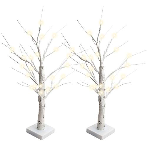 JACKYLED Easter Decorations 2FT 28 LED Birch Tree Light Battery Operated Warm White Birch Lighted Tree Tabletop Bonsai Tree Light Jewelry Holder Decor for Easter Wedding Party Festival Holiday