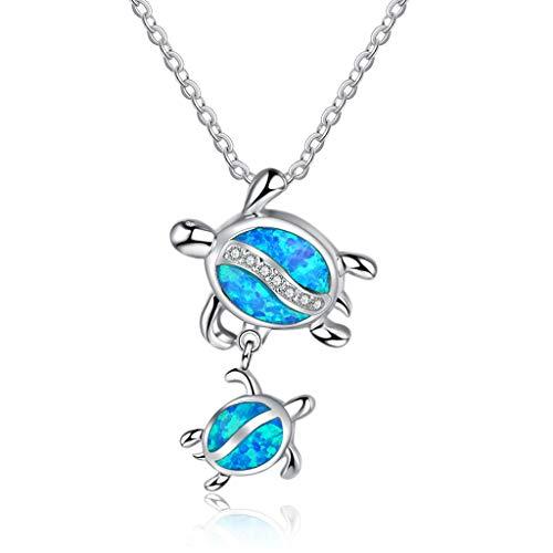 Sweet Collar con Tortugas Marinas, Collar De Plata De Ley 925, Collar con Colgante Ópalo Azul Regalo para El Día De La Madre