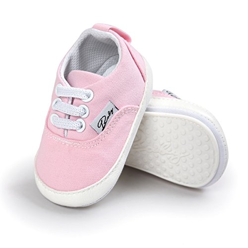 Baby Boys Girls Shoes Canvas Toddler Sneakers Anti-Slip Infant Prewalker (13cm (12-18months), Pink)