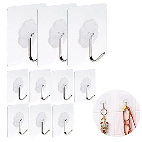 Hibery 10 Pcs Adhesive Wall Hooks - Reusable Super Heavy Duty Sticky Hooks for Kitchen and Bathroom 13.3lb (Max)