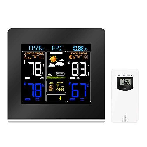 L.HPT Wetterstationen ProjektionsweckerDrahtlose Wetterstation mit Außensensor, Anzeige Wetterstationen Projektionswecker mit Wetterwarnungen, Wettervorhersage/Temperaturanzeige