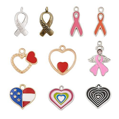 Craftdady 100 colgantes de corazón esmaltados 10 estilos de metal Pendientes colgantes de gota con forma de corazón con cinta para el cáncer de mama para joyería y pulseras