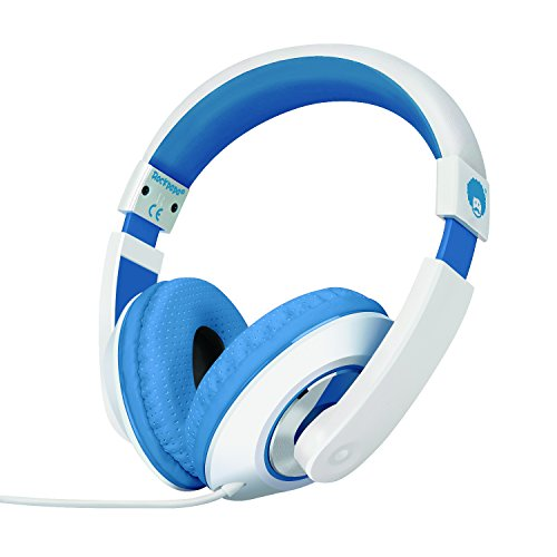 Rockpapa On Ear Stereo Headphones Earphones for Adults Kids Childs Teens, Adjustable, Heavy Deep Bass for MP3/4 DVD Smartphones Laptop Tablet in Car/Airplane White/Blue