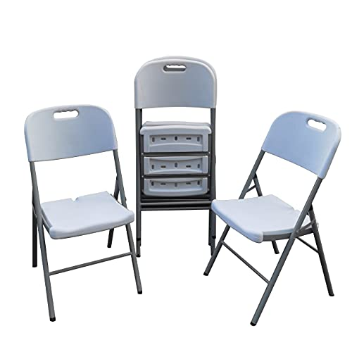 Set of 4 Folding Chair Sturdy Plastic Fold Up Saving Space for Dining Living Room Indoor & Outdoor Events Wedding Kitchen Garden BBQ Party Patio (4PCS Folding Chairs)