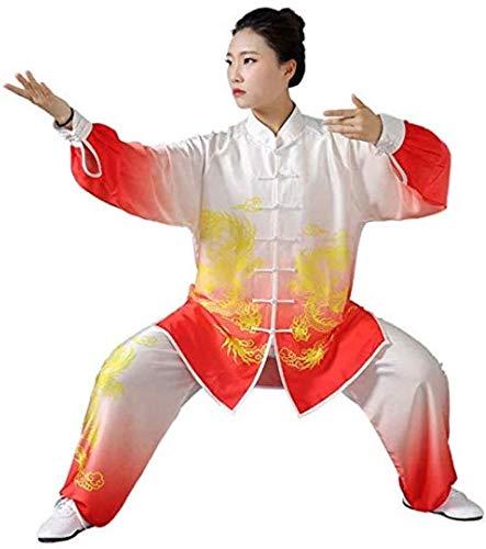 YJZ Unisex Tai Chi uniform kleding Chinese stijl inkt draak gradiënten kung Fu Tai Chi kleding Tai Chi Oefening Taekwondo trainingspak, XS