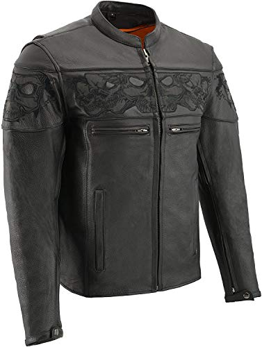 Milwaukee Leather MLM1500 Men's Crossover Black Leather Scooter Jacket with Reflective Skulls and Gun Pockets - Large
