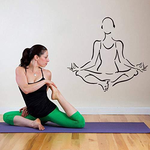 mlpnko Yoga hindú Budista Tatuajes de Pared Vinilo removible decoración de la Sala Yoga Silueta Etiqueta de la Pared 63X58 cm