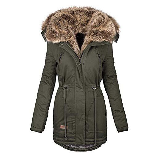 Sugely Chaqueta de invierno cálida para mujer, con capucha, forro polar, forro polar, con cremallera, bolsillos de piel y forro polar