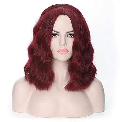 Ombre Short Wavy Hair Perücken Dunkelrote Farbe Mittelteil Hitzebeständige synthetische Haarersatzperücke für Frauen (Dunkelrot)
