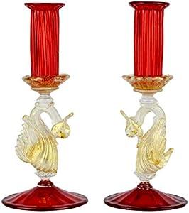 Juego de 2 portavelas clásicos venecianos de cristal de Murano.