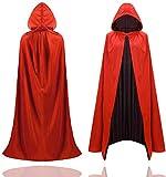 Capa de disfraz de Halloween - rojo y negro - capa con capucha para niños y adultos - mujeres y hombres