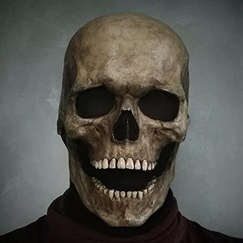Máscara de Calavera de Cabeza Completa de Halloween Espeluznante con Mandíbula Móvil, Casco de Látex Realista de Cabeza Completa para Adulto, Casco de Esqueleto Aterrador, Accesorios de Cosplay