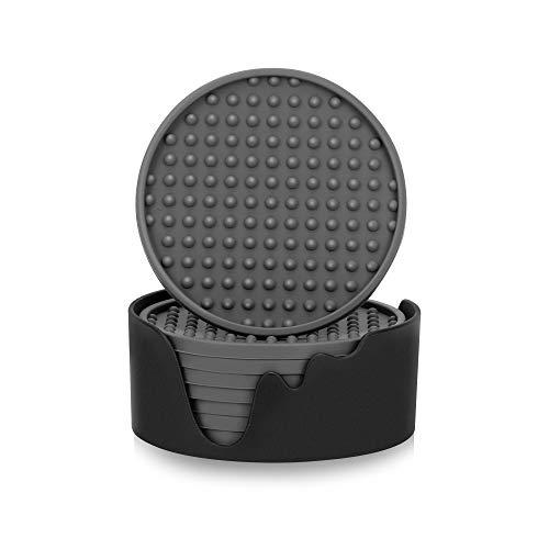 IYYI Sottobicchiere in Silicone Set di 8 nel Supporto, sottobicchiere per Bevande, Profondo sottobicchiere da 10,2 cm(Ombreggiatura dei Punti, Grigio)