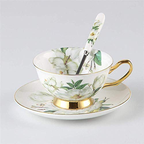 Camellia Bone China Reeks van de Koffie Britse porseleinen theeservies Keramisch Pot Teatime Theepot Kop van de Koffie, 2 kopjes set LMMS (Color : 1 Cup Set)