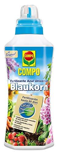 Compo 1L Fertilizante Azul Universal Blaukorn, Líquido, para Cultivos y Plantas de jardín, NovaTec, Dura hasta 60 días, Negro, 1 L