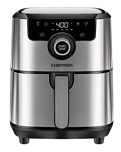 Chefman 4.5 Quart Square Air Fryer with Presets & Adjustable Temperature, Nonstick Stainless Steel & Cool-Touch, Dishwasher Safe Basket, BPA-Free w/ 60 Minute Timer, Healthy Rapid Frying