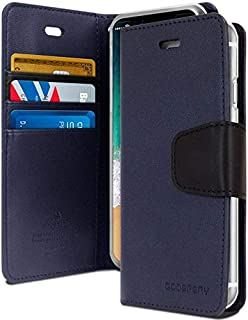 غطاء حافظة حماية ومحفظة لجهاز آيفون XR من الجلد مع جيوب داخلية وقاعدة تثبيت، أزرق