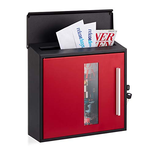 Relaxdays, zwart-rood brievenbus met venster, afsluitbaar, beschermklep, design brievenbus, h x b x d: 33 x 35 x 12,5 cm, standaard