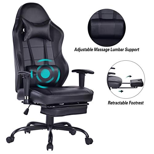 Blue Whale Gaming Chair PC Computer Chair with Footrest Ergonomic Video Game Chair High Back Racing Gamer Chair Reclining Leather Office Chair with Headrest and Lumbar Support (8332Black3) chair footrest gaming