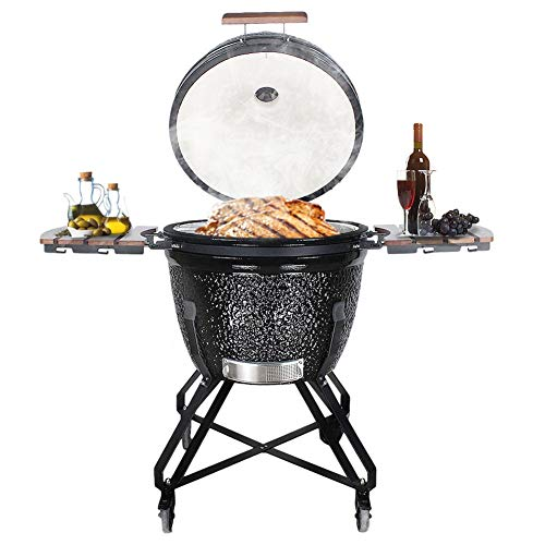 RJMOLU 26inch BBQ Grill with Fold-down Shelf and Trolley, Ceramic Charcoal Outdoor Quick Fire Lighter Smoker Barbecue Grill, Black