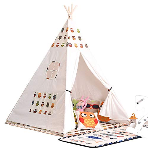 Kids Play Tent Children's Tent Toy Breathable Cotton Tent Folding Children Indoor And Outdoor Toys Play House Toys 4 Wood Pedicle Home Decoration for Indoor Games (Color : F, Size : 120x120x156cm)