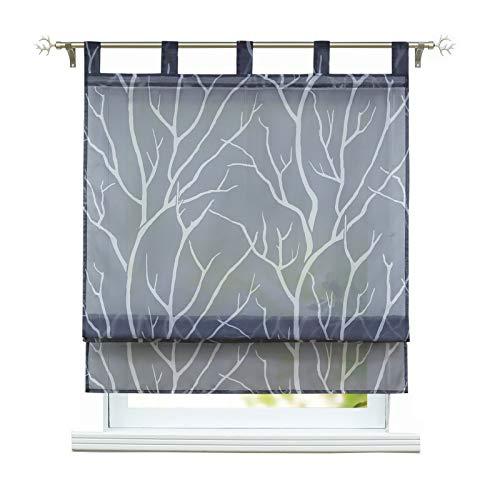 ESLIR Raffrollo mit Schlaufen Gardinen Küche Raffgardinen Transparent Schlaufenrollo Modern Vorhänge Grau BxH 100x140cm 1 Stück
