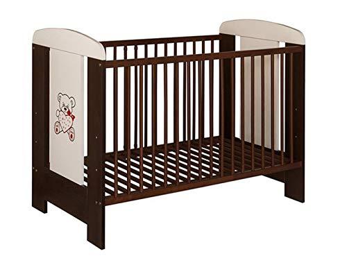Best For Kids Gitterbett in 3 Farben mit 10 cm Matratze aus Schaumstoff TÜV Zertifiziert Geprüft, Kinderbett Babybett weiß 4 Teile (Braun mit Matratze)