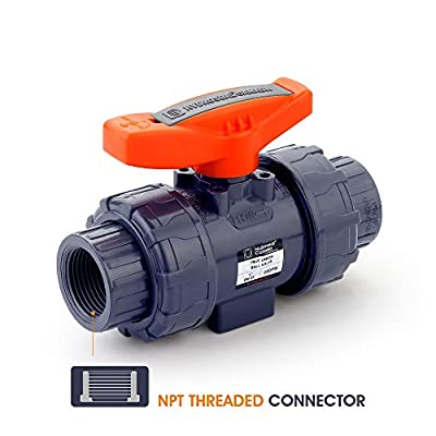 HYDROSEAL Kaplan PVC True Union Ball Valve Threaded from 1/2 inch to 4 inch with Full Port, ASTM F1970, EPDM O-Rings and Reversible PTFE Seats, Rated at 200 PSI @73F, Gray by HYDROSEAL