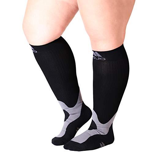 Mojo Compression Socks 3XL  2030mmHg Wide Full Calf  Varicose Vein Edema  Plus Size Sports Compression Stockings Black XXXLarge A601BL6