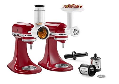 KitchenAid Food Meat Grinder Salad Vegetable Slicer Shredder Stand Mixer Attachment Set KSM2VSGA, Multicolor