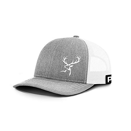 Printed Kicks Deer Hunting Back Mesh Hat Outdoor Hunter Cap (Heather Front/White Mesh)
