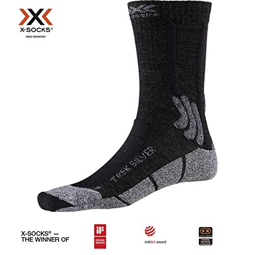 X-Socks Trek Silver Socks, Opal Black/Dolomite Grey Melange, 45-47