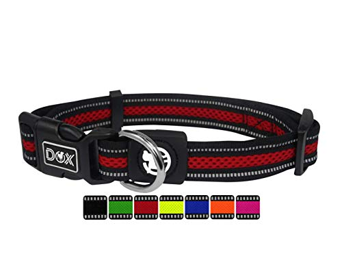 DDOXX Hundehalsband Air Mesh, reflektierend, verstellbar, gepolstert | viele Farben | für kleine & große Hunde | Halsband Hund Katze Welpe | Hunde-Halsbänder | Katzen-Halsband klein | Rot, M