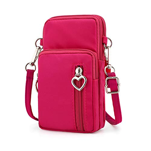 Oxford Cell Phone Purse Wallet Pouch Mini Crossbody Shoulder Bag Zip Handbag with Card Pocket (Pink)