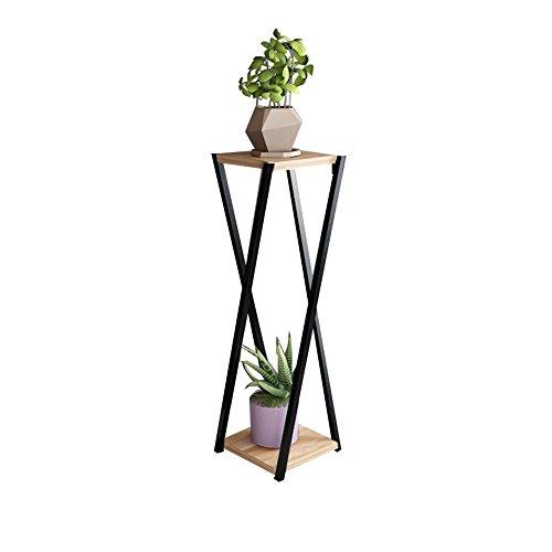 CSQ Le support de plante de fer forgé de salon, double couche a caché l'usine multifonctionnelle de plantes en pot d'assemblage de bureau de fleur a examiné le noir et le noyer clair Étagère à fleurs