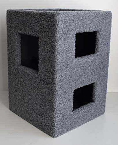 Lemio Katzentonne Cube Kratztonne Katzenbaum 56 cm hoch NEU 2 Farben (Grau)