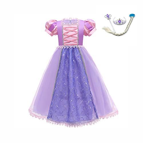LZH 子供 コスプレ プリンセス ドレス アナと雪の女王 コスチューム エルサドレス 衣装 4点セット (コスプレドレス,ハートのティアラ, 魔法のステッキ, 三つ編みウィッグ) 変装 誕生日 演出ドレス