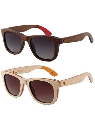 WOLA Sonnenbrille Holz AIR eckige Holzbrille Skateboard-Stil polarisiert Damen Herren UV400 Doppelpack 1x Ahorn natur, 1x Ahorn nuss, 1x Triangle Etui