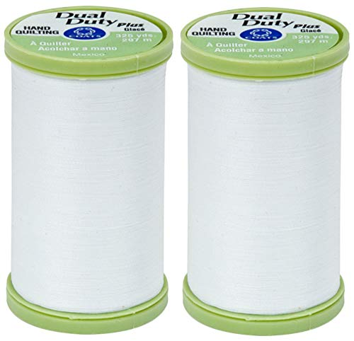 2-Pack Bundle Coats & Clark Dual Duty Plus Hand Quilting Thread 325yds White s960-0100