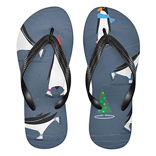 Linomo Men's Funny Penguin Slim Flip Flop Summer Beach Sandal for Womens
