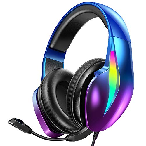 PeohZarr Gaming Headset Xbox One Headset PS4 Headset PS5 Headset, Flowing Aurora Lights Rainbow RGB Super Comfy Earmuffs, 7.1 Surround Sound Gaming Headset with Microphone for PC Laptop Mac Nintendo