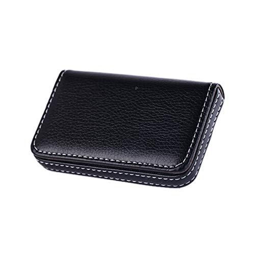 WWFCI portefeuille met hoge capaciteit senior PU naamkaarthouder kaarthouder PU leder business kaarthouder, Blanco Y Gris (zwart) - 6979012386652