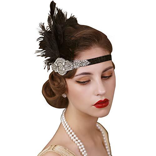 SWEETV Kopfbedeckung im Stil der 20er-Jahre, Feder, Strass-Steine, Schwarz