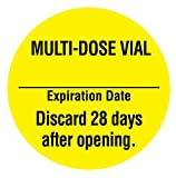 United Ad Label Medication Labels MULTIDOSE Vial Discard 28 Days After Opening, 1' Diameter, Permanent Paper Label, Fluorescent Yellow, One Roll of 885 Labels
