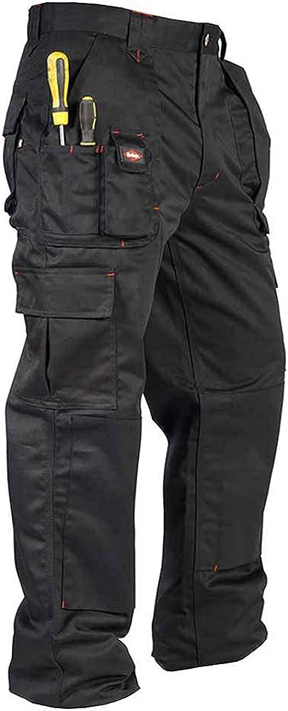 Men's Lee Cooper Workwear LCPNT206 Cargo Multi Pocket Trouser with knee pockets 40W Short Black