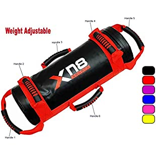 Power Bag Filled Weight Lifting Body Fitness Gym Boxing MMA Training Handles Crossfit Workout Sandbag (Black and Red, 20KG)