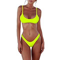 Material: 82% Nylon 18% Spandex. Buy from sherry007 to get quality products. Sporty tank bikini top, banded minimal coverage, elastic support under bust, wire free, with padding; V style thong bottom, very cheeky Super soft material for silky feel, q...